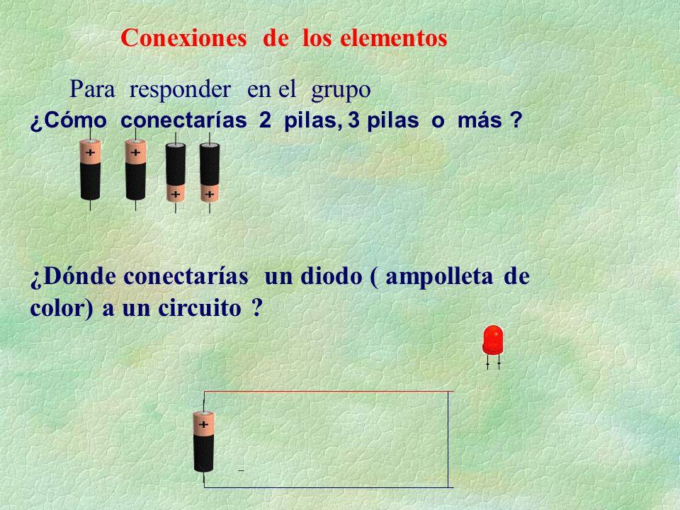 Conexiones de los elementos ¿Cómo conectarías 2 pilas, 3 pilas o más ? ¿Dónde conectarías un diodo ( ampolleta de color) a un circuito ? Para responde