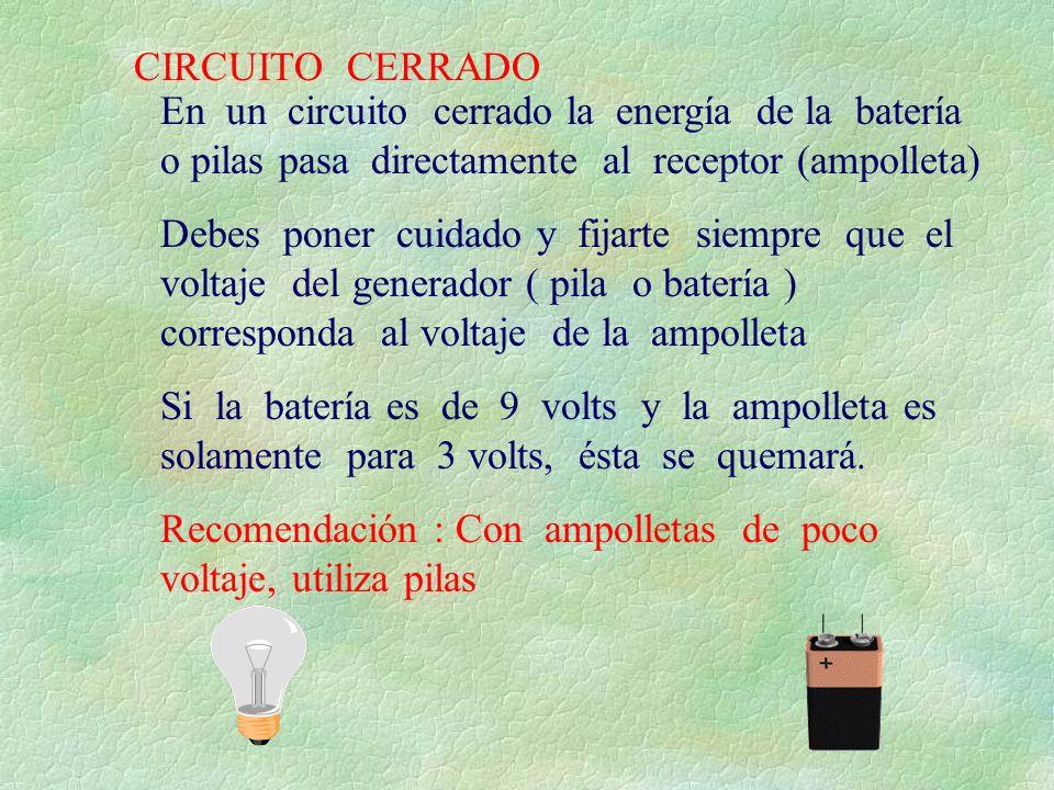 CIRCUITO CERRADO En un circuito cerrado la energía de la batería o pilas pasa directamente al receptor (ampolleta) Debes poner cuidado y fijarte siemp