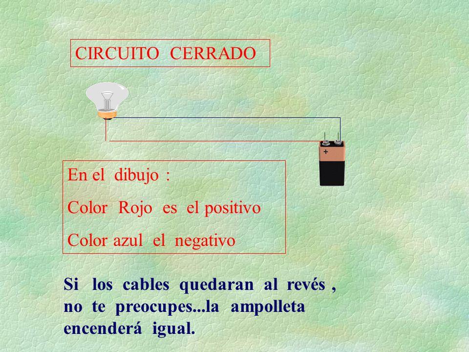 En el dibujo : Color Rojo es el positivo Color azul el negativo Si los cables quedaran al revés, no te preocupes...la ampolleta encenderá igual. CIRCU