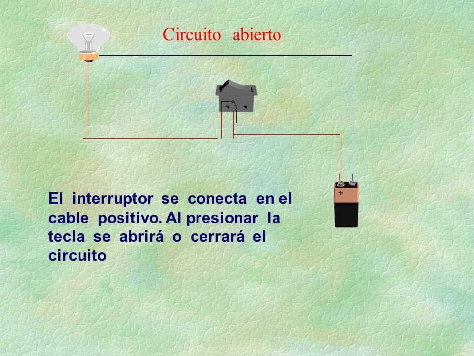 El interruptor se conecta en el cable positivo. Al presionar la tecla se abrirá o cerrará el circuito Circuito abierto