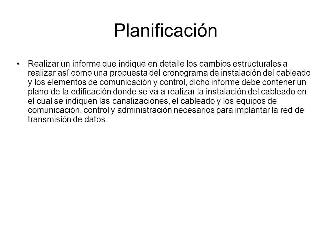 Planificación Realizar un informe que indique en detalle los cambios estructurales a realizar así como una propuesta del cronograma de instalación del