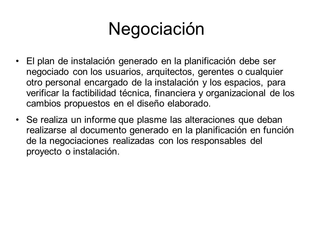 Negociación El plan de instalación generado en la planificación debe ser negociado con los usuarios, arquitectos, gerentes o cualquier otro personal e