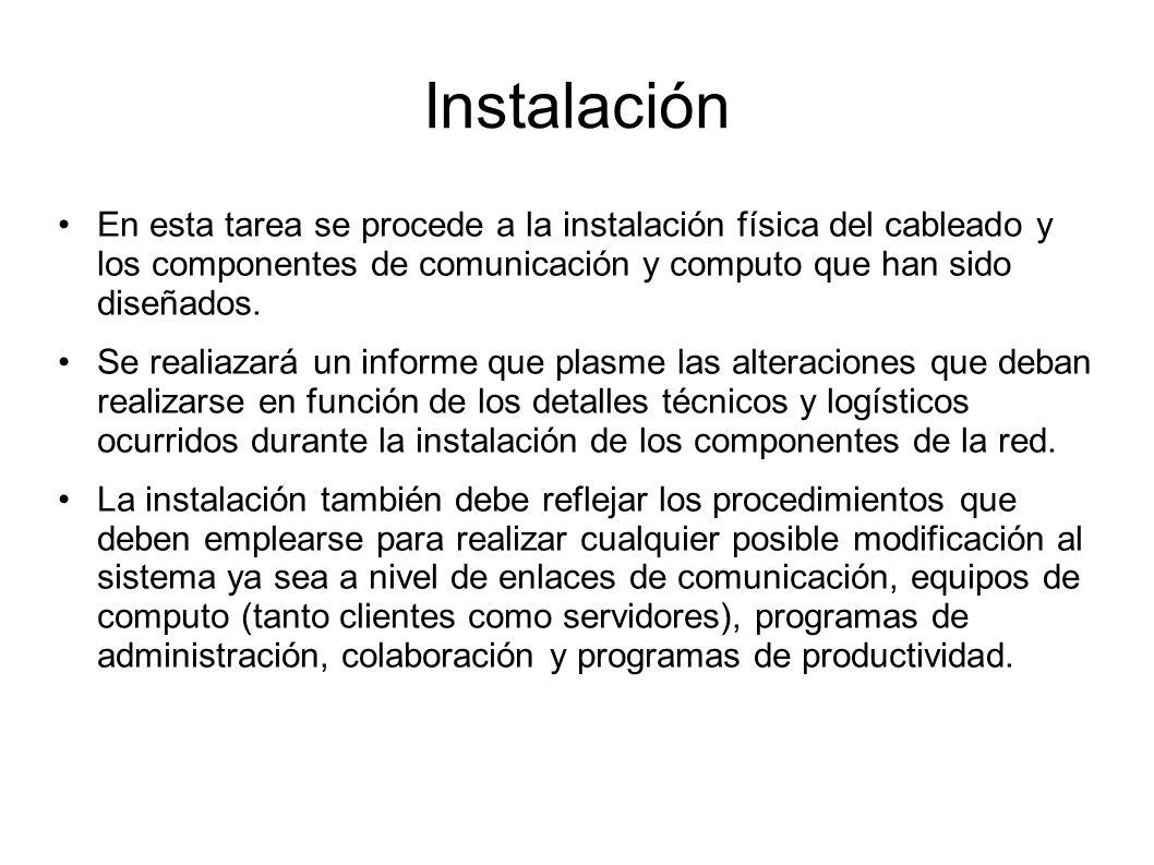 Instalación En esta tarea se procede a la instalación física del cableado y los componentes de comunicación y computo que han sido diseñados. Se reali