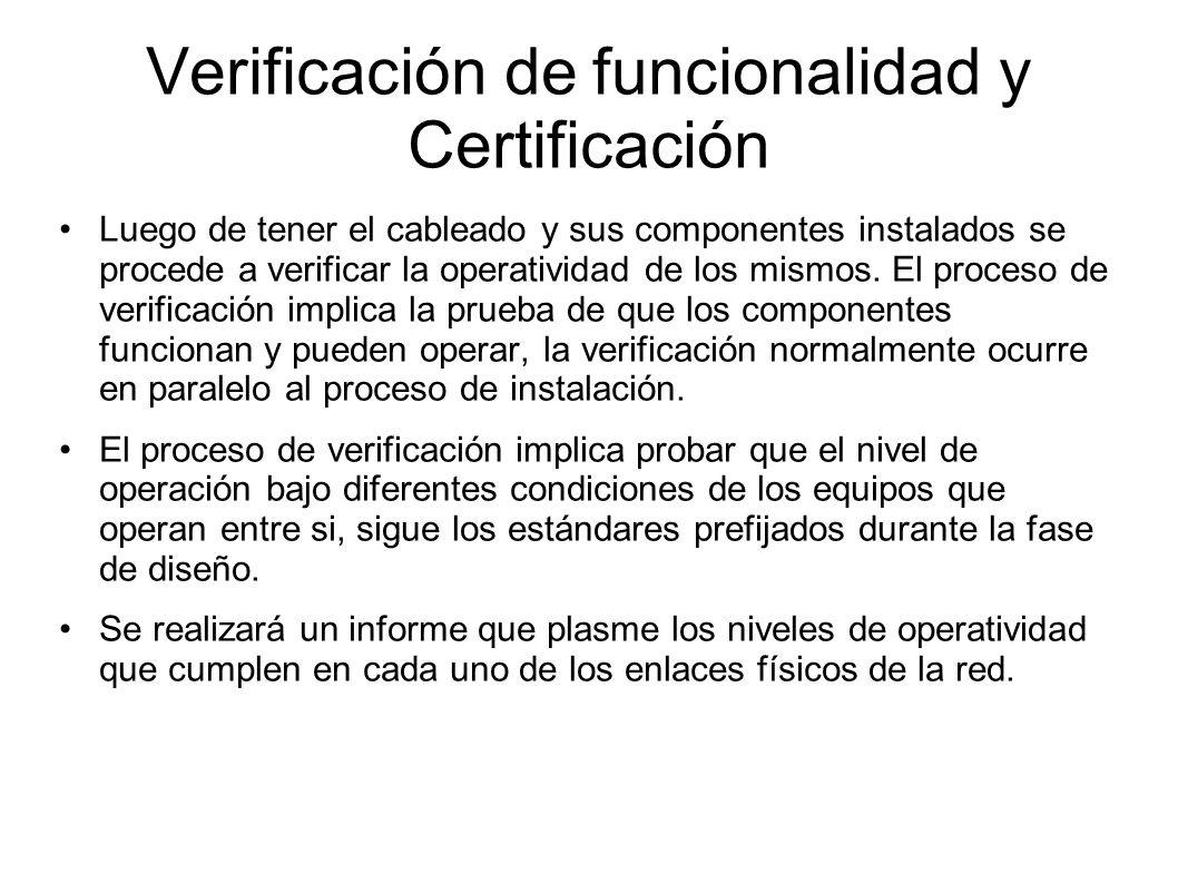 Verificación de funcionalidad y Certificación Luego de tener el cableado y sus componentes instalados se procede a verificar la operatividad de los mi