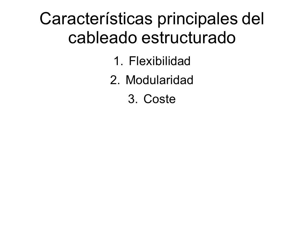 Características principales del cableado estructurado 1.Flexibilidad 2.Modularidad 3.Coste