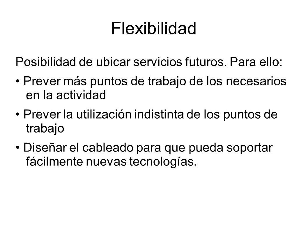 Flexibilidad Posibilidad de ubicar servicios futuros. Para ello: Prever más puntos de trabajo de los necesarios en la actividad Prever la utilización