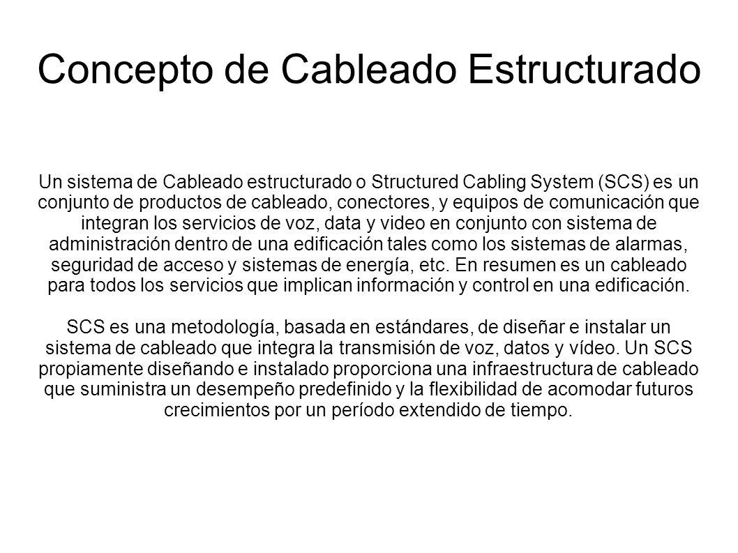 Un sistema de Cableado estructurado o Structured Cabling System (SCS) es un conjunto de productos de cableado, conectores, y equipos de comunicación q