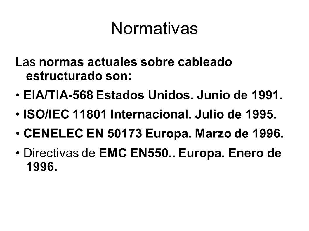 Normativas Las normas actuales sobre cableado estructurado son: EIA/TIA-568 Estados Unidos. Junio de 1991. ISO/IEC 11801 Internacional. Julio de 1995.