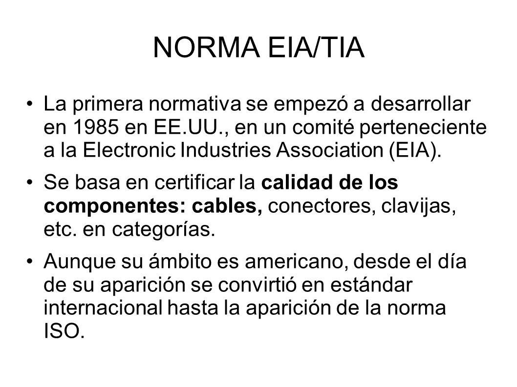 NORMA EIA/TIA La primera normativa se empezó a desarrollar en 1985 en EE.UU., en un comité perteneciente a la Electronic Industries Association (EIA).