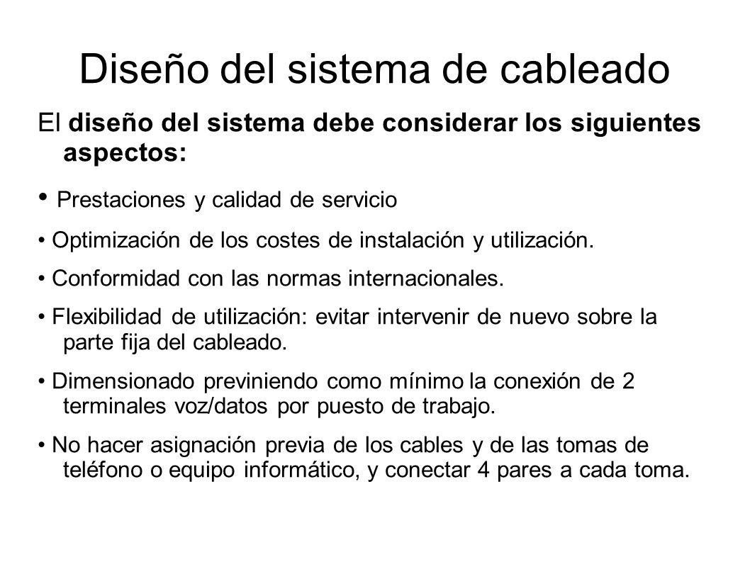 Diseño del sistema de cableado El diseño del sistema debe considerar los siguientes aspectos: Prestaciones y calidad de servicio Optimización de los c