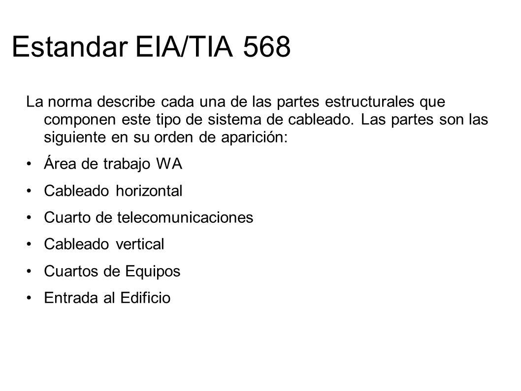 Estandar EIA/TIA 568 La norma describe cada una de las partes estructurales que componen este tipo de sistema de cableado. Las partes son las siguient