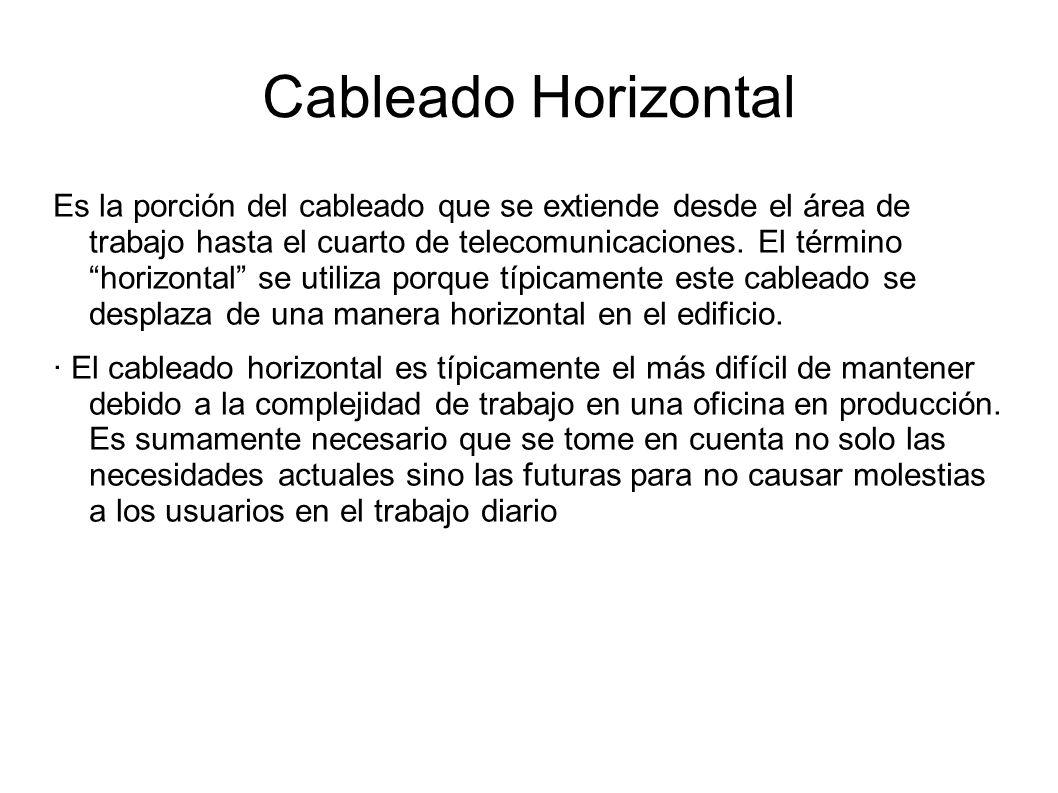 Cableado Horizontal Es la porción del cableado que se extiende desde el área de trabajo hasta el cuarto de telecomunicaciones. El término horizontal s