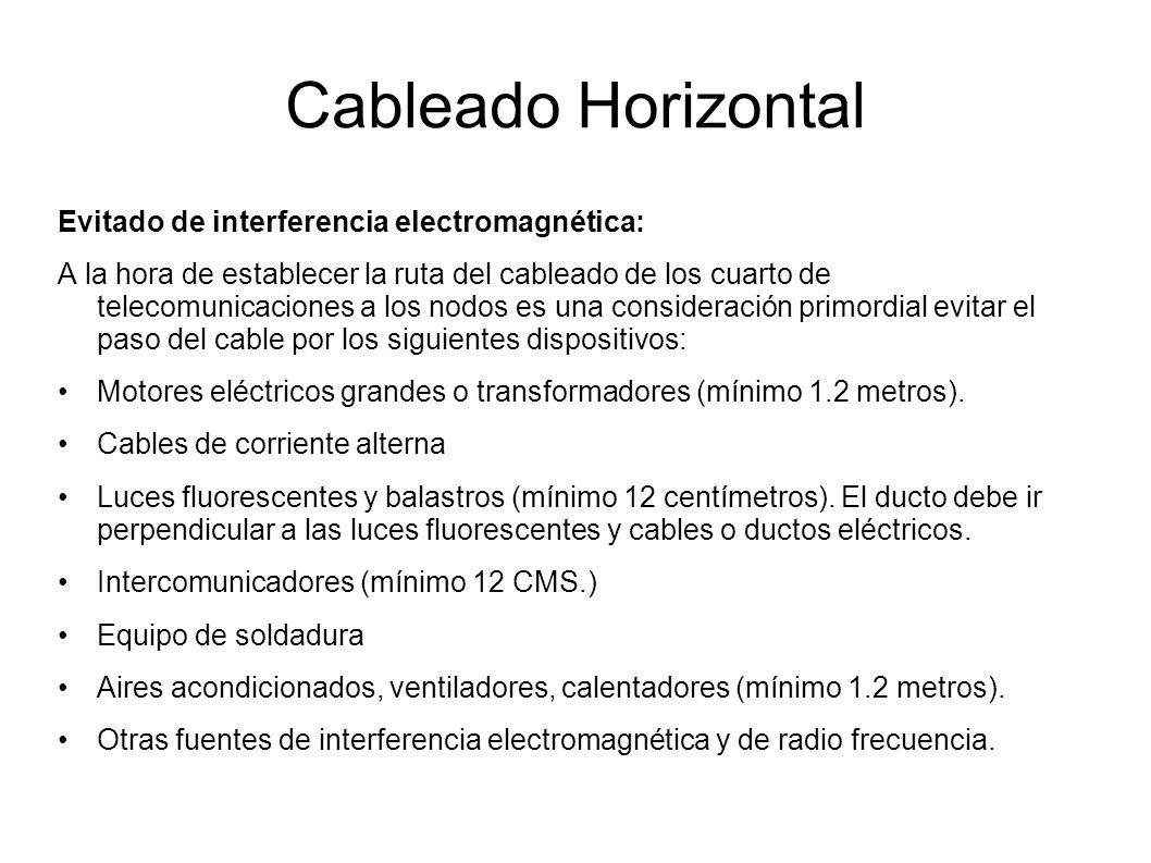 Cableado Horizontal Evitado de interferencia electromagnética: A la hora de establecer la ruta del cableado de los cuarto de telecomunicaciones a los