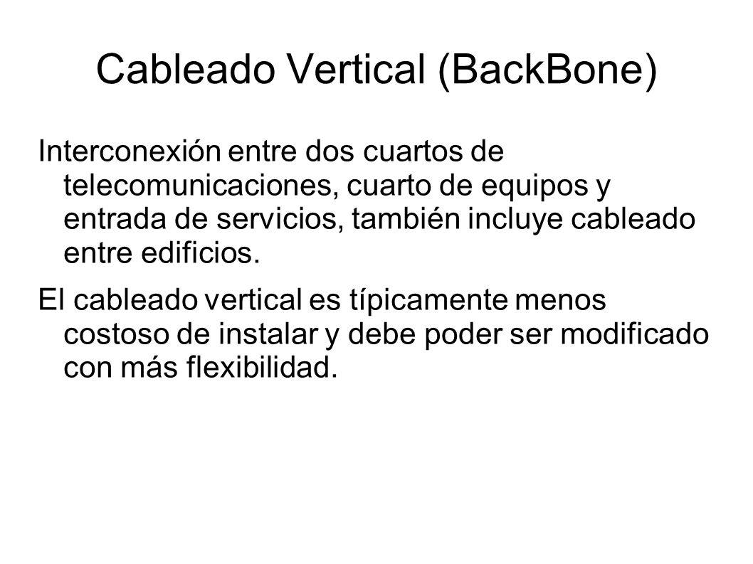 Cableado Vertical (BackBone) Interconexión entre dos cuartos de telecomunicaciones, cuarto de equipos y entrada de servicios, también incluye cableado
