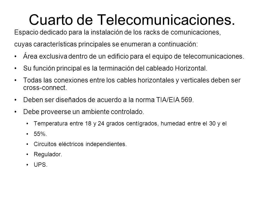 Cuarto de Telecomunicaciones. Espacio dedicado para la instalación de los racks de comunicaciones, cuyas características principales se enumeran a con