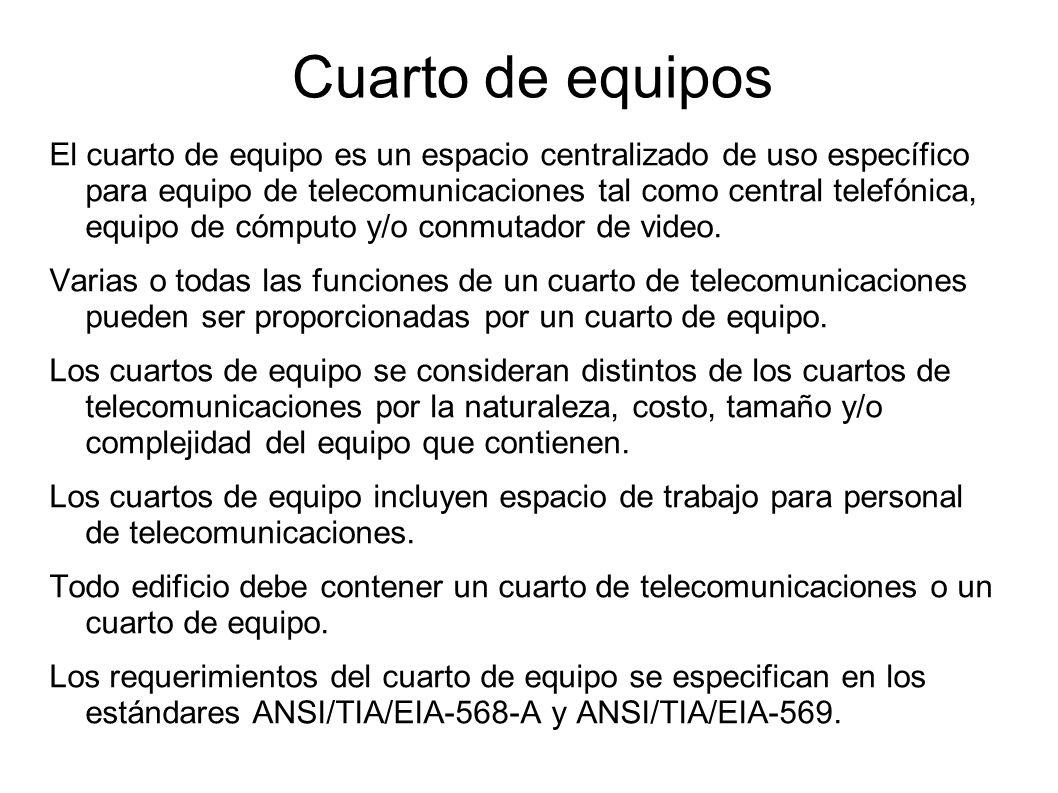 Cuarto de equipos El cuarto de equipo es un espacio centralizado de uso específico para equipo de telecomunicaciones tal como central telefónica, equi