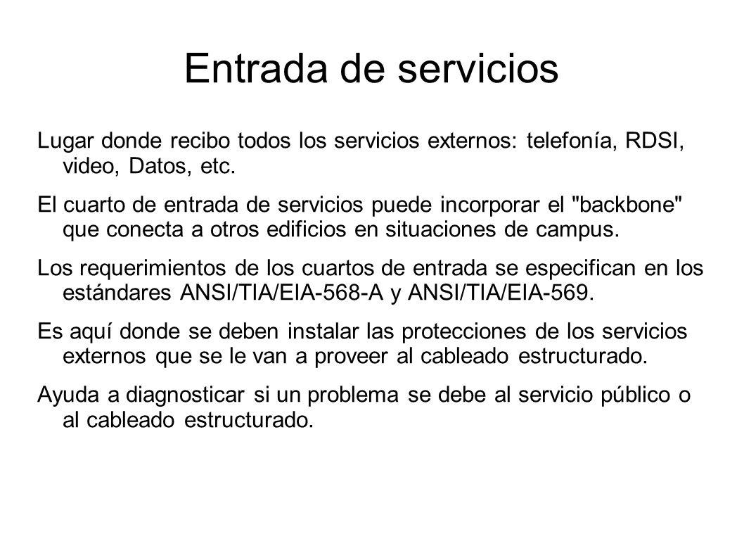 Entrada de servicios Lugar donde recibo todos los servicios externos: telefonía, RDSI, video, Datos, etc. El cuarto de entrada de servicios puede inco