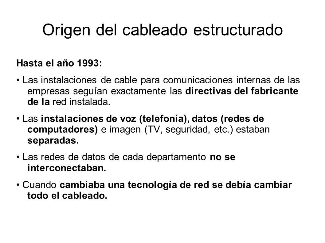 Origen del cableado estructurado Hasta el año 1993: Las instalaciones de cable para comunicaciones internas de las empresas seguían exactamente las di