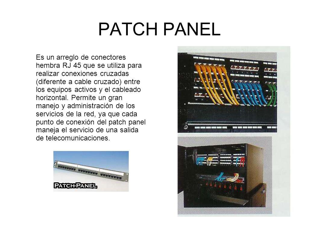 PATCH PANEL Es un arreglo de conectores hembra RJ 45 que se utiliza para realizar conexiones cruzadas (diferente a cable cruzado) entre los equipos ac