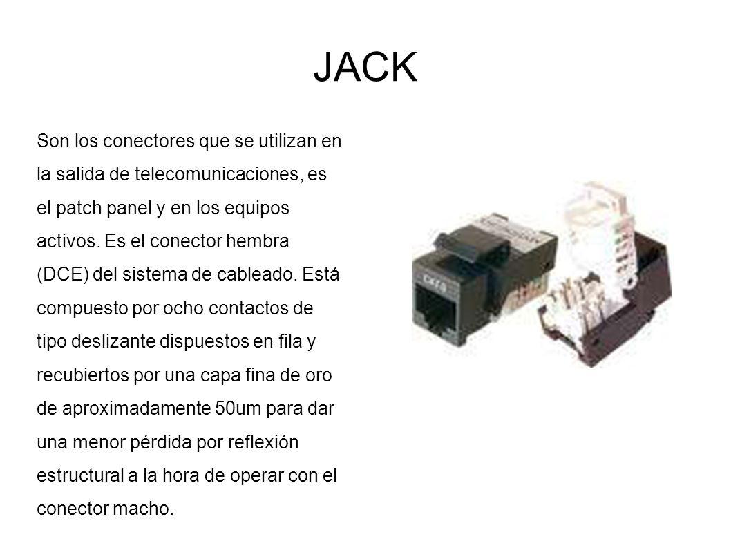 JACK Son los conectores que se utilizan en la salida de telecomunicaciones, es el patch panel y en los equipos activos. Es el conector hembra (DCE) de