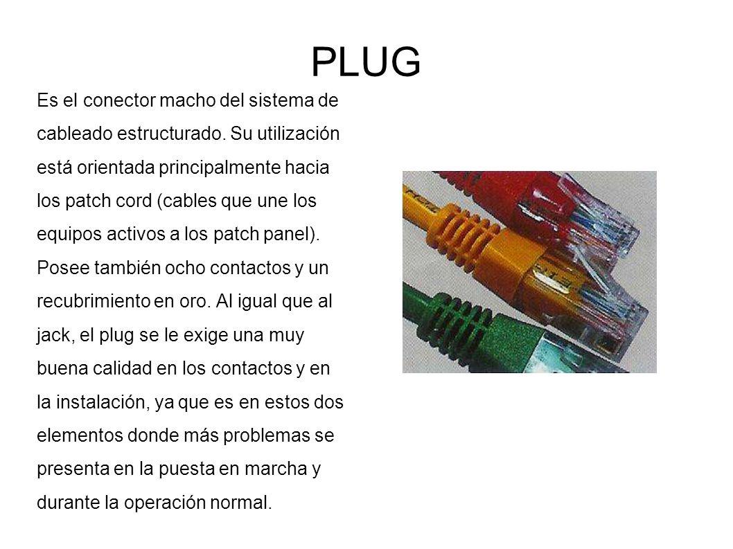 PLUG Es el conector macho del sistema de cableado estructurado. Su utilización está orientada principalmente hacia los patch cord (cables que une los