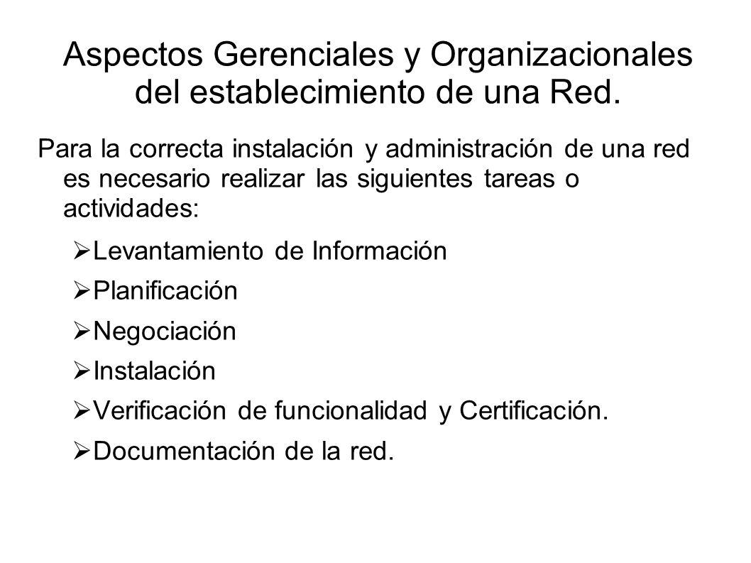 Aspectos Gerenciales y Organizacionales del establecimiento de una Red. Para la correcta instalación y administración de una red es necesario realizar