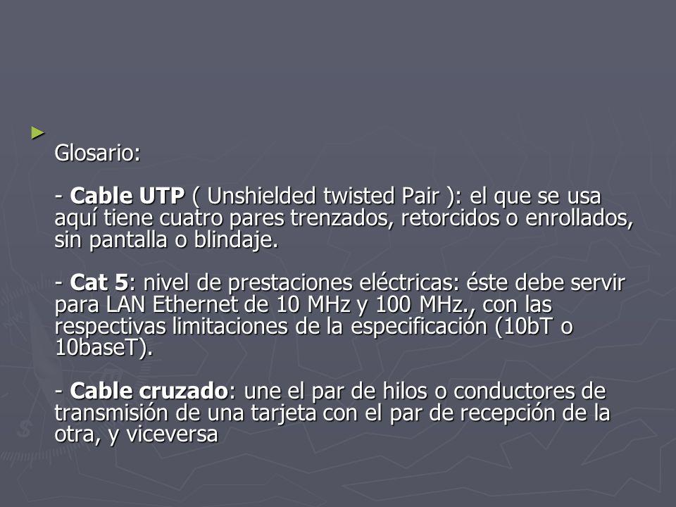 Glosario: - Cable UTP ( Unshielded twisted Pair ): el que se usa aquí tiene cuatro pares trenzados, retorcidos o enrollados, sin pantalla o blindaje.