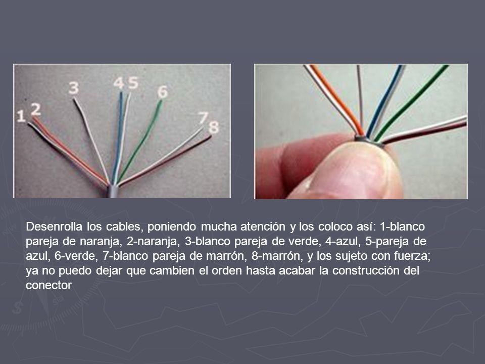 Desenrolla los cables, poniendo mucha atención y los coloco así: 1-blanco pareja de naranja, 2-naranja, 3-blanco pareja de verde, 4-azul, 5-pareja de