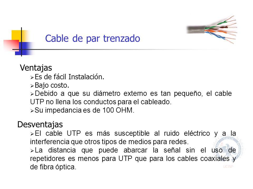 Cable de par trenzado Ventajas Es de fácil Instalación.