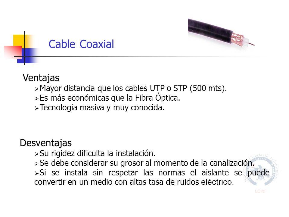 Ventajas Mayor distancia que los cables UTP o STP (500 mts).