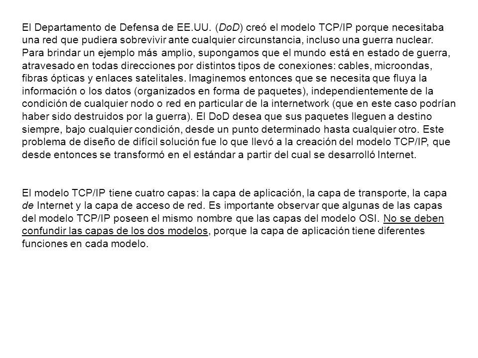 El Departamento de Defensa de EE.UU. (DoD) creó el modelo TCP/IP porque necesitaba una red que pudiera sobrevivir ante cualquier circunstancia, inclus
