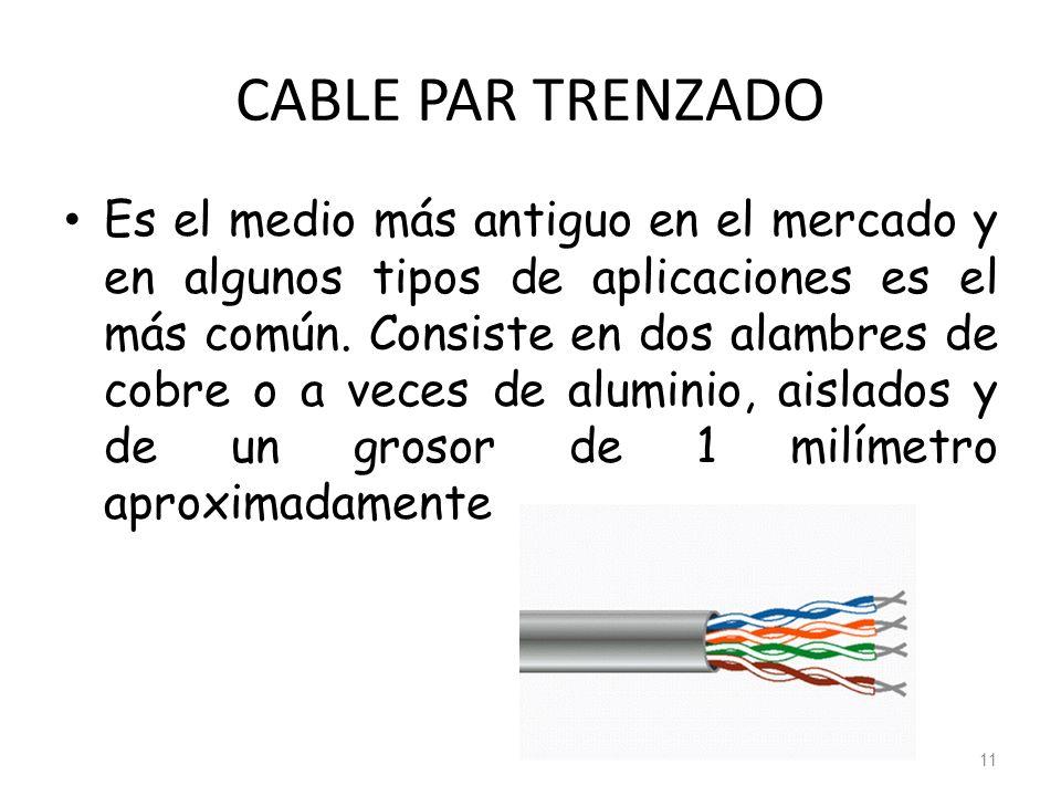 CABLE PAR TRENZADO Es el medio más antiguo en el mercado y en algunos tipos de aplicaciones es el más común. Consiste en dos alambres de cobre o a vec