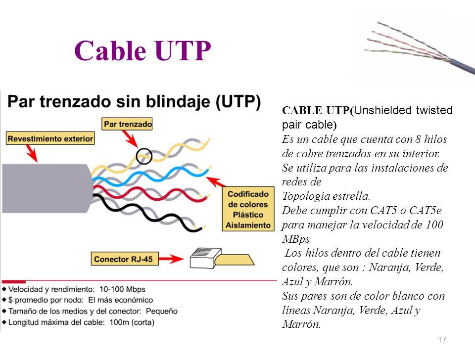 Cable UTP 17 CABLE UTP( Unshielded twisted pair cable ) Es un cable que cuenta con 8 hilos de cobre trenzados en su interior. Se utiliza para las inst