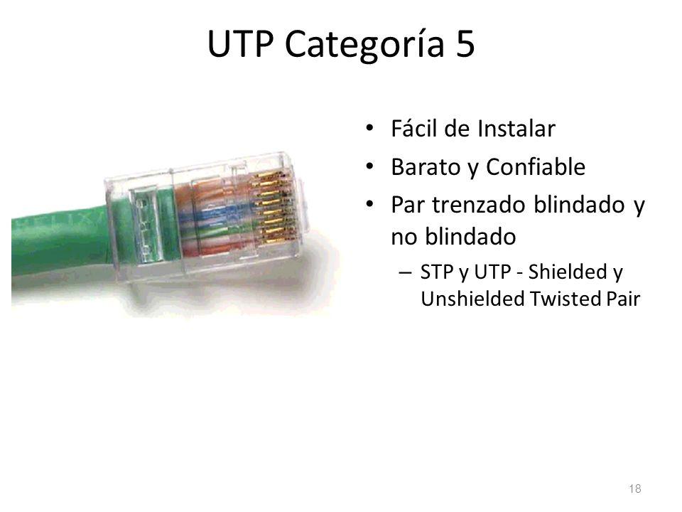 UTP Categoría 5 Fácil de Instalar Barato y Confiable Par trenzado blindado y no blindado – STP y UTP - Shielded y Unshielded Twisted Pair 18