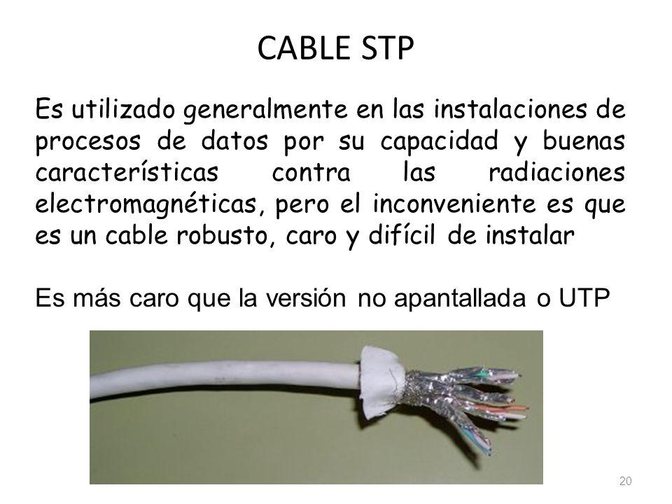 CABLE STP 20 Es utilizado generalmente en las instalaciones de procesos de datos por su capacidad y buenas características contra las radiaciones elec
