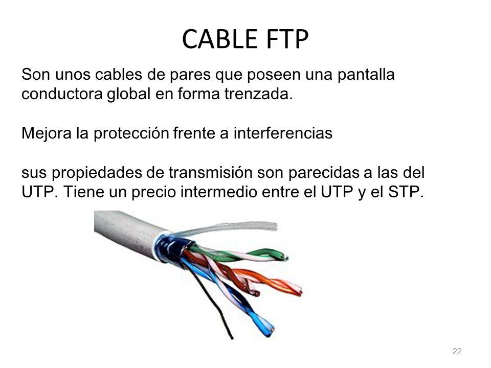 CABLE FTP 22 Son unos cables de pares que poseen una pantalla conductora global en forma trenzada. Mejora la protección frente a interferencias sus pr