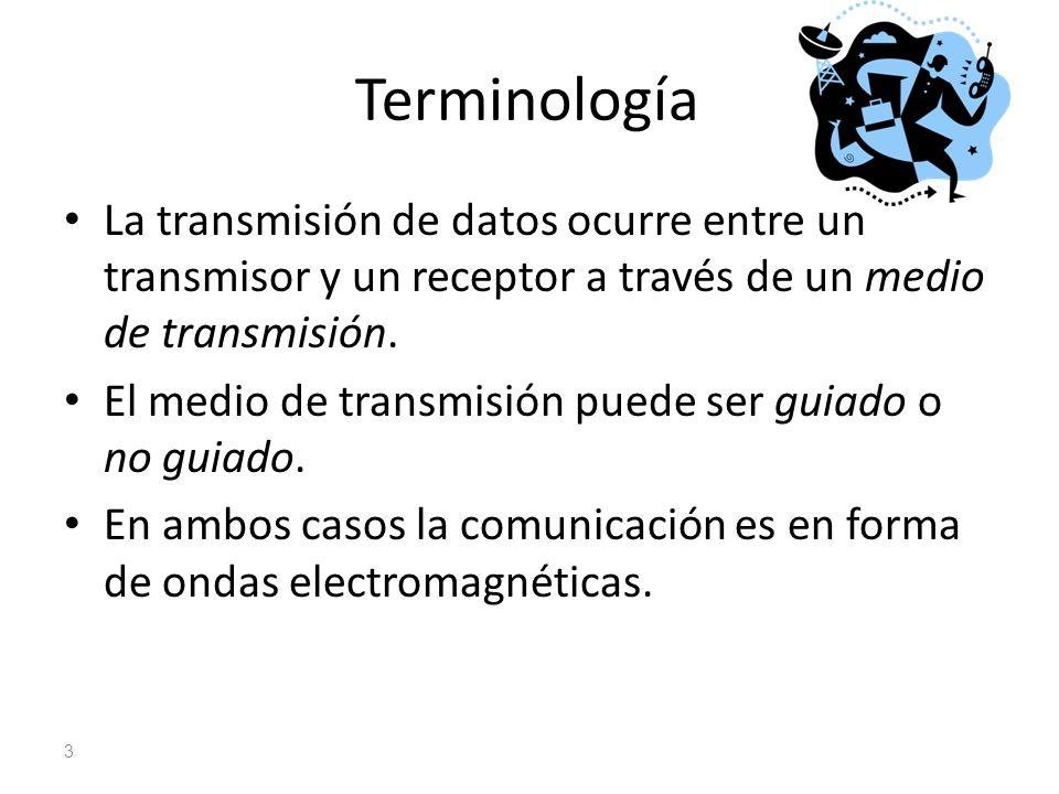 Terminología La transmisión de datos ocurre entre un transmisor y un receptor a través de un medio de transmisión. El medio de transmisión puede ser g