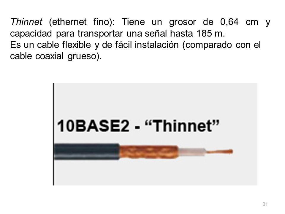 31 Thinnet (ethernet fino): Tiene un grosor de 0,64 cm y capacidad para transportar una señal hasta 185 m. Es un cable flexible y de fácil instalación