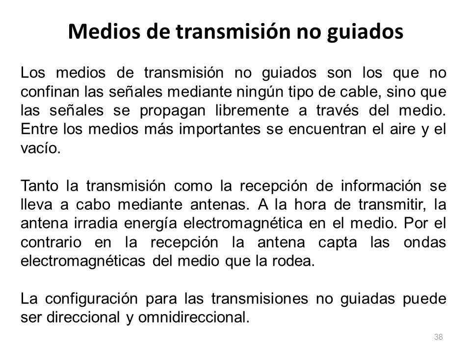 Medios de transmisión no guiados 38 Los medios de transmisión no guiados son los que no confinan las señales mediante ningún tipo de cable, sino que l
