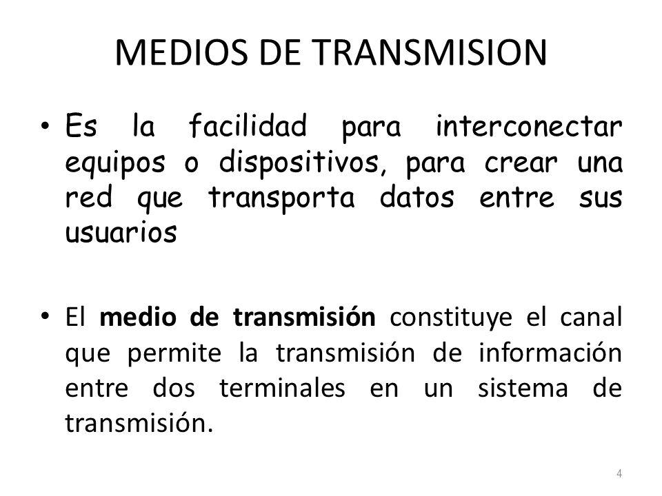 MEDIOS DE TRANSMISION Es la facilidad para interconectar equipos o dispositivos, para crear una red que transporta datos entre sus usuarios El medio d