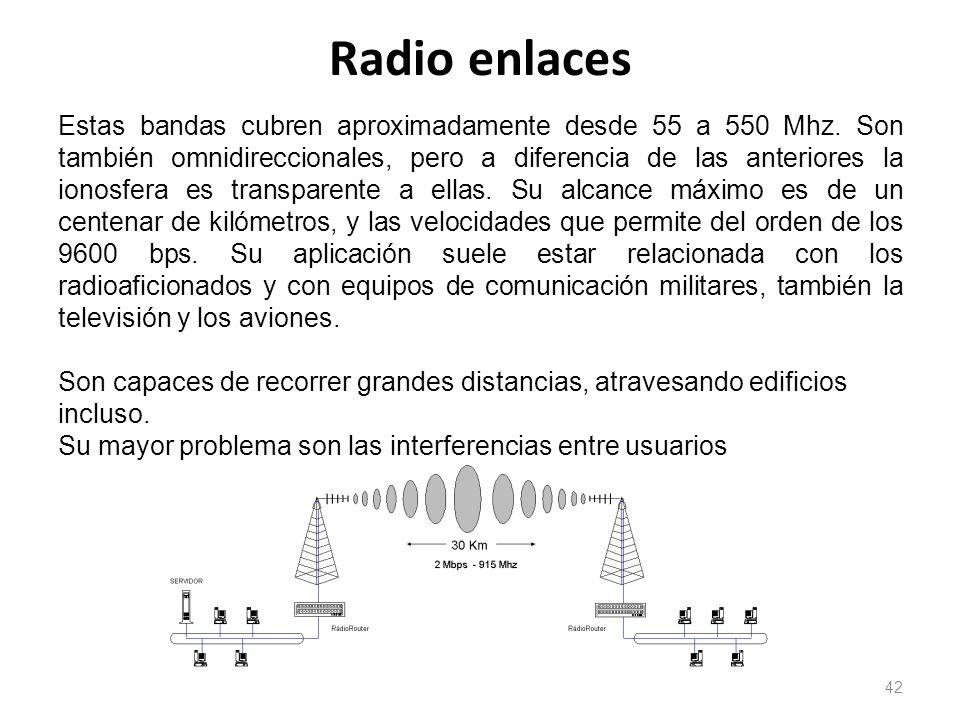 Radio enlaces 42 Estas bandas cubren aproximadamente desde 55 a 550 Mhz. Son también omnidireccionales, pero a diferencia de las anteriores la ionosfe