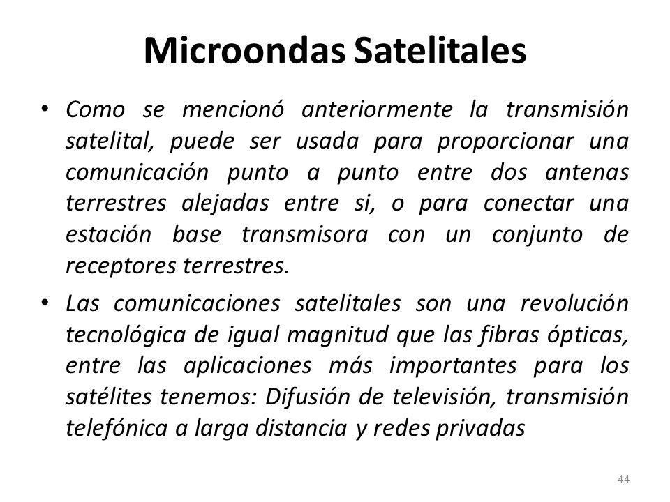 Microondas Satelitales Como se mencionó anteriormente la transmisión satelital, puede ser usada para proporcionar una comunicación punto a punto entre
