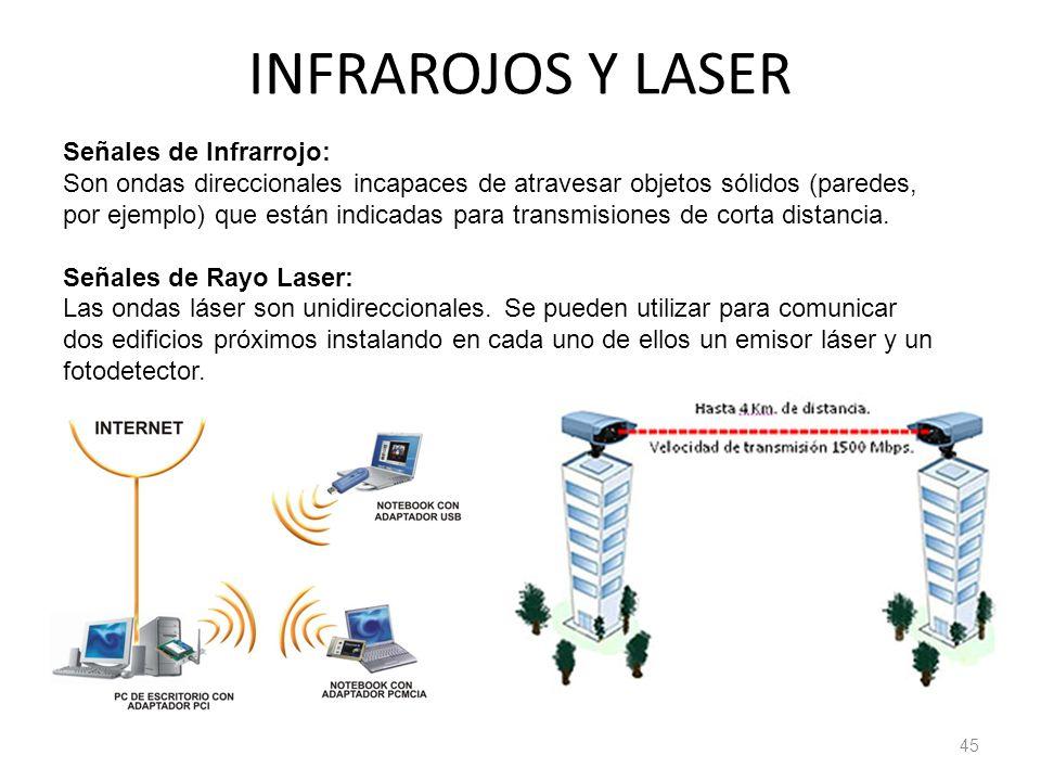 INFRAROJOS Y LASER 45 Señales de Infrarrojo: Son ondas direccionales incapaces de atravesar objetos sólidos (paredes, por ejemplo) que están indicadas