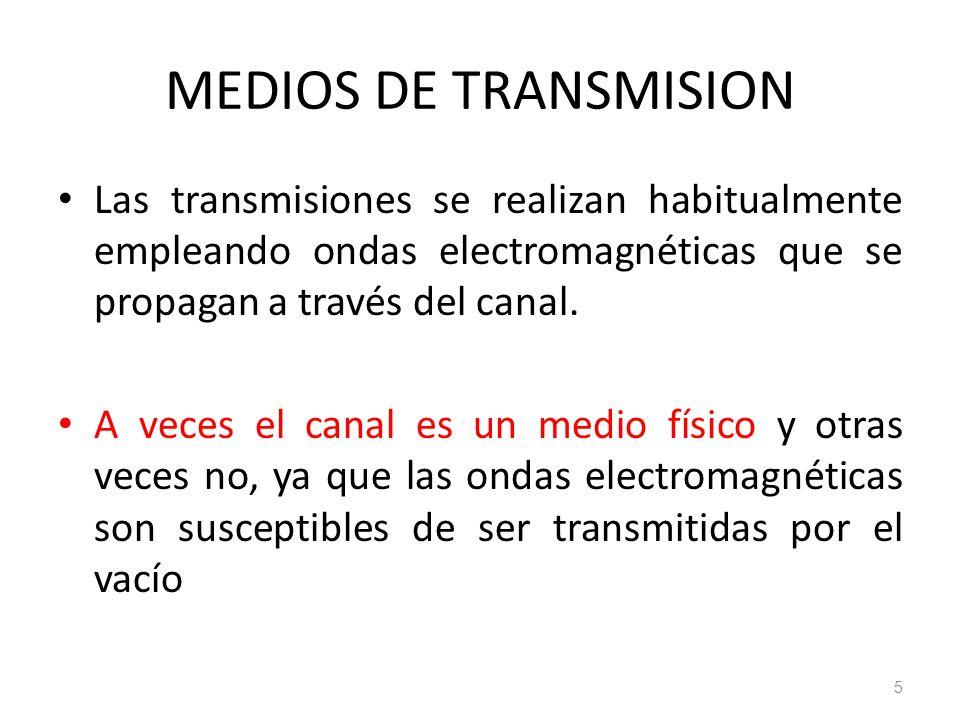 MEDIOS DE TRANSMISION Las transmisiones se realizan habitualmente empleando ondas electromagnéticas que se propagan a través del canal. A veces el can
