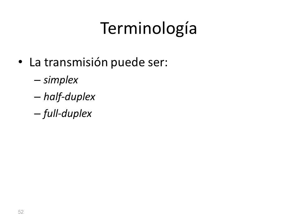 Terminología La transmisión puede ser: – simplex – half-duplex – full-duplex 52