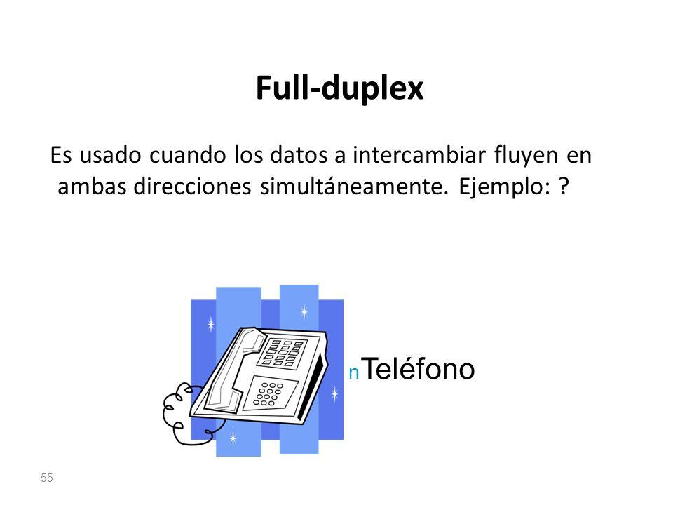 Full-duplex Es usado cuando los datos a intercambiar fluyen en ambas direcciones simultáneamente. Ejemplo: ? 55 n Teléfono
