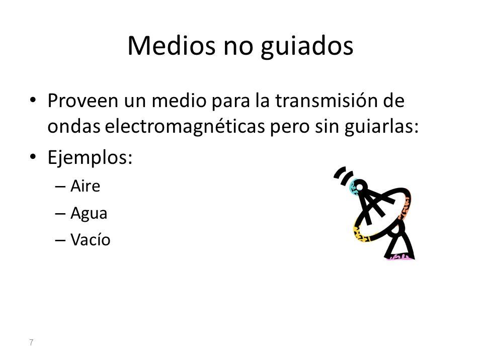 Medios no guiados Proveen un medio para la transmisión de ondas electromagnéticas pero sin guiarlas: Ejemplos: – Aire – Agua – Vacío 7