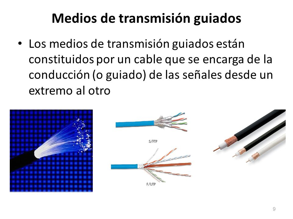 Medios de transmisión guiados Los medios de transmisión guiados están constituidos por un cable que se encarga de la conducción (o guiado) de las seña