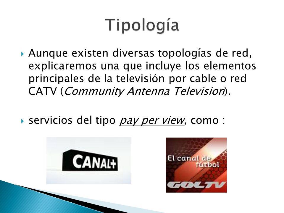 Aunque existen diversas topologías de red, explicaremos una que incluye los elementos principales de la televisión por cable o red CATV (Community Ant