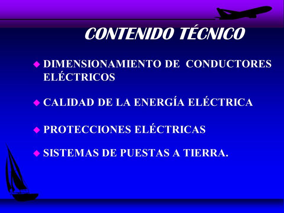 CONTENIDO TÉCNICO u DIMENSIONAMIENTO DE CONDUCTORES ELÉCTRICOS u CALIDAD DE LA ENERGÍA ELÉCTRICA u PROTECCIONES ELÉCTRICAS u SISTEMAS DE PUESTAS A TIERRA.